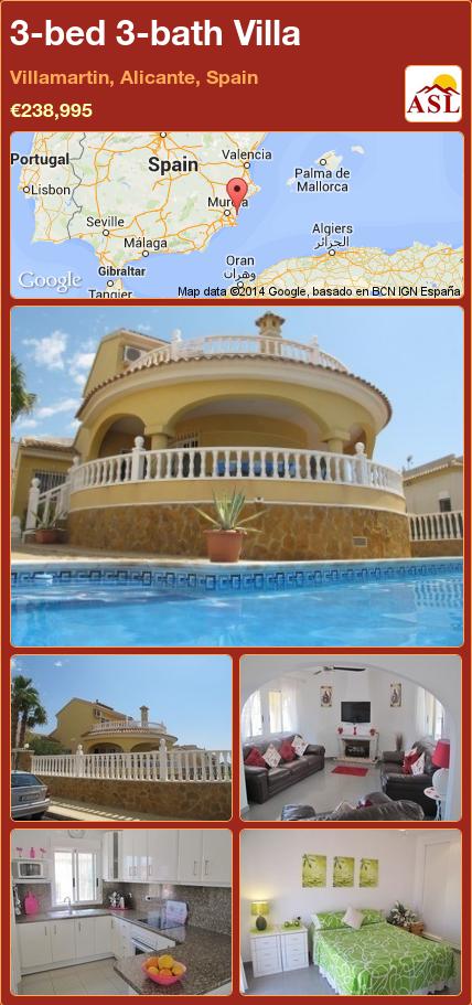 3-bed 3-bath Villa in Villamartin, Alicante, Spain ►€238,995 #PropertyForSaleInSpain