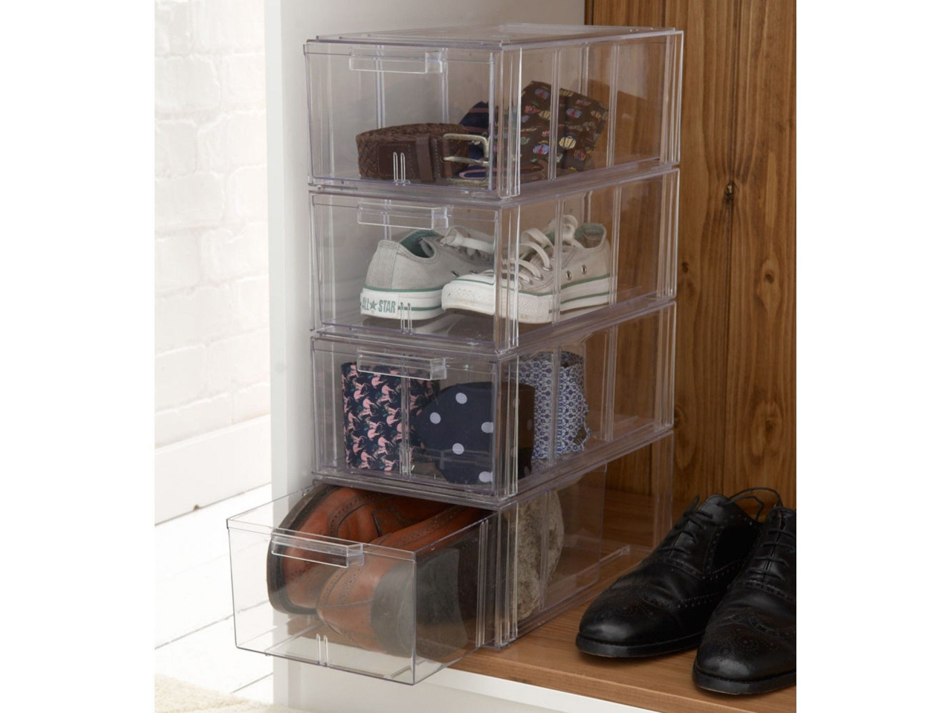 Acrylic Stackable Shoe Storage Drawers Large Clear