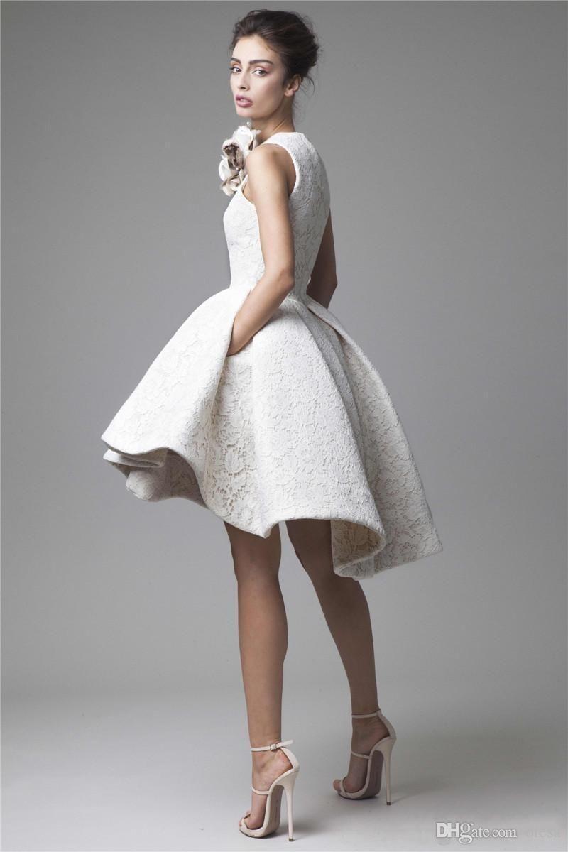 Krikor jabotian high low lace prom dresses jewel neckline a