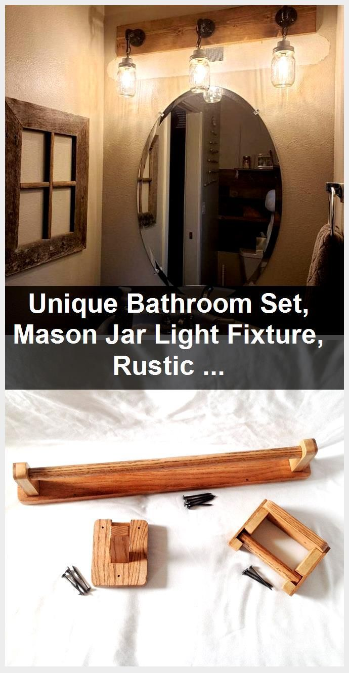 Photo of Unique Bathroom Set, Mason Jar Light Fixture, Rustic Towel Holder, Toilet Paper, Industrial, …