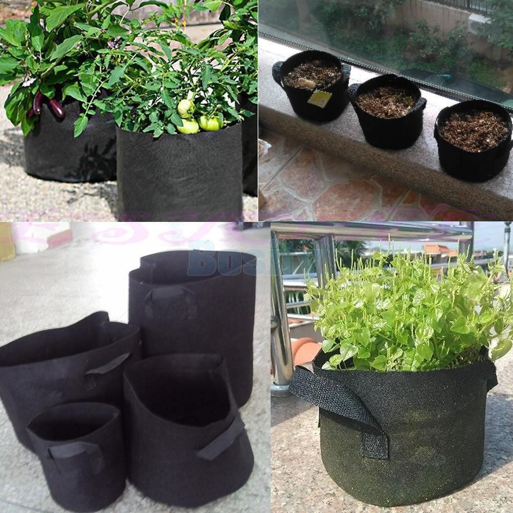 Pack Of 5pcs 3 Gallon Fabric Pot Plant Pouch Grow Bag Aeration Container Tomato Planter Growing Vegetables Growing Herbs In Pots