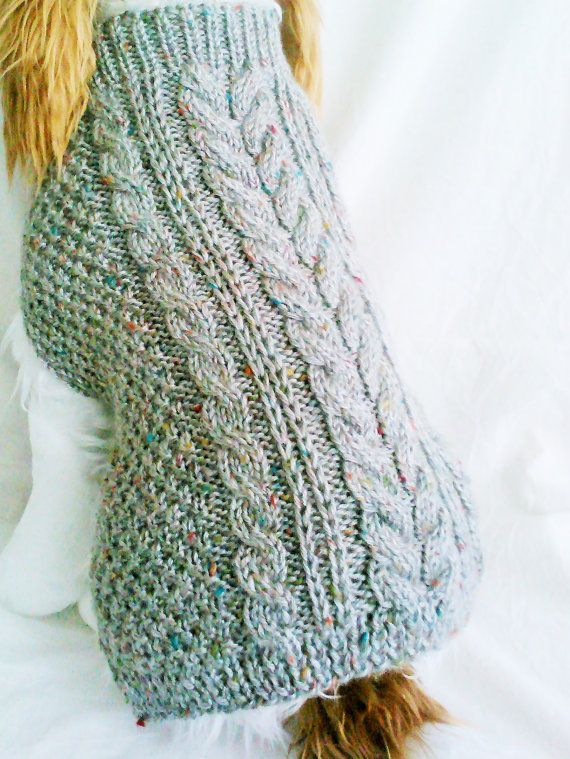 Tweed Cable Dog Sweater / Handknit / Dog Clothing / 3 Sizes ...