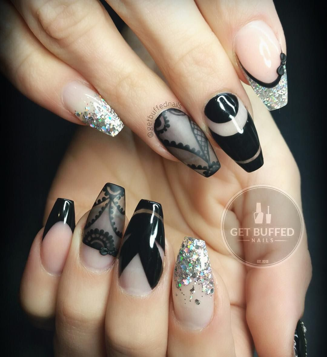...black and silver...space negative nail art....exclusive....