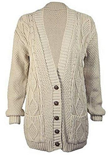 86c797d9f3 Ladies new button cardigan. - Chunky Aran cable knit style knitted pattern.  - Mixed-Fibres - Front button fastening with contrast quilt buttons.