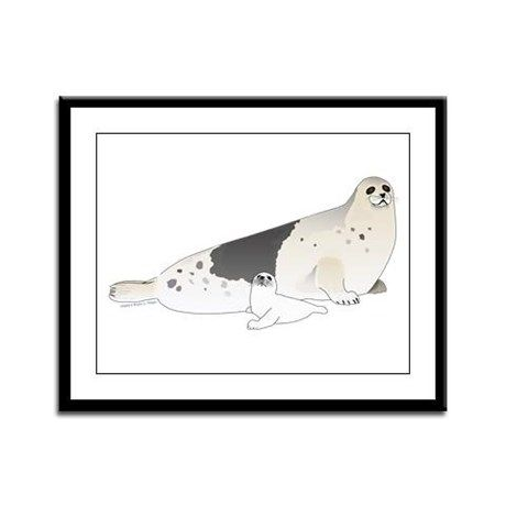 mom and baby harp seal drawing called harp seals because of the