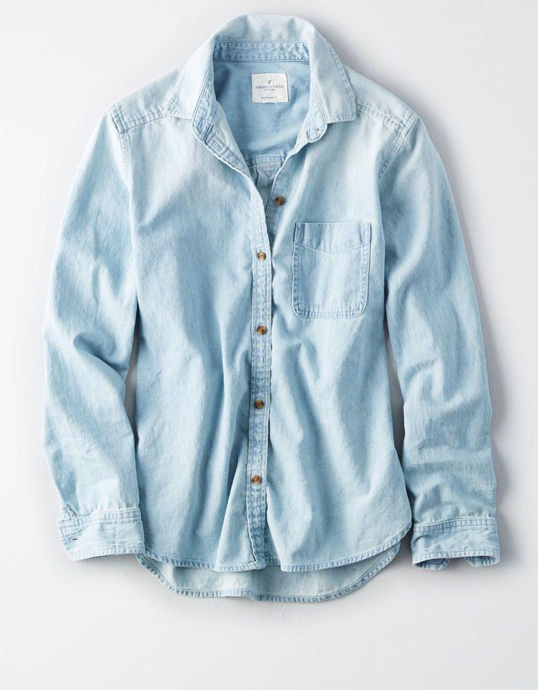 5745e43f NWT American Eagle Classic Denim Blue Boyfriend Fit Light Wash Shirt XXL  2XL #AmericanEagleOutfitters #ButtonDownShirt