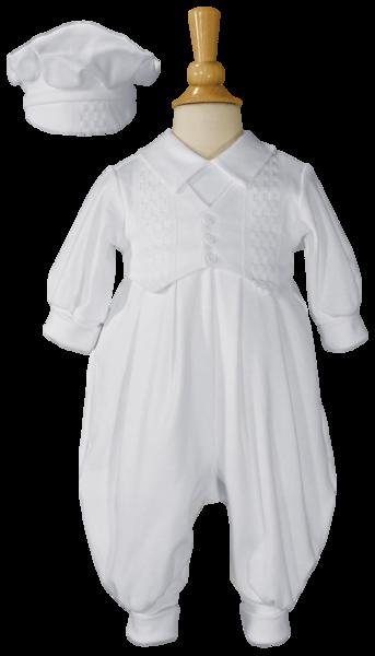 3e99a3ce6 Windowpane Pattern Cotton Coverall w. Long Sleeves   Hat Newborn-9m ...