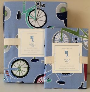 Pottery Barn Kids Bicycle Twin Duvet Cover Standard Sham New Blue Boys Bedding | eBay