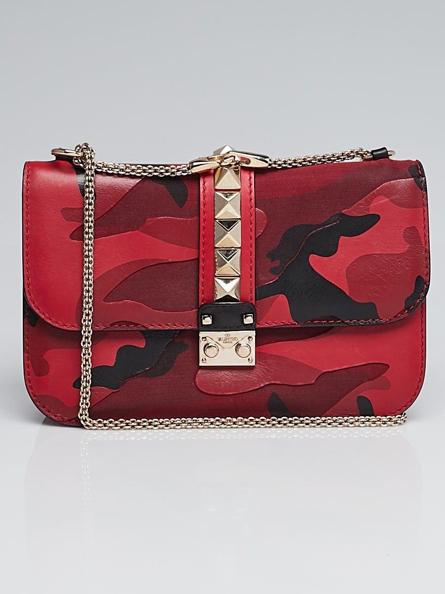 4703f49be96bc Valentino Red Camo Print Leather and Canvas Rockstud Lock Medium Flap Bag -  Yoogi s Closet