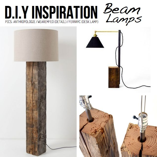 DIY Ideas & Tutorials for Salvaged Wooden Beams | Wood lamps
