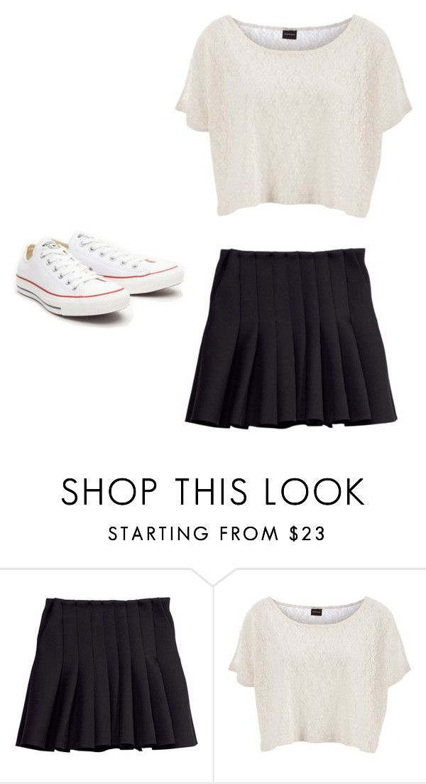 """:)"" by arisomarribas ❤ liked on Polyvore featuring H&M, Pieces and Converse"