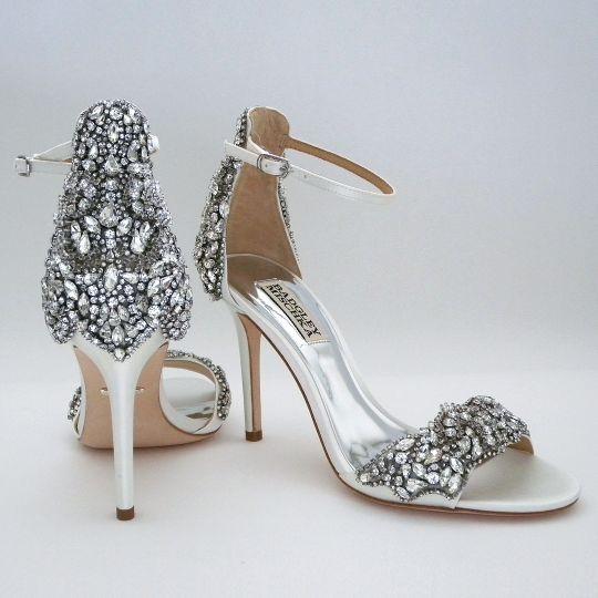 Badgley Mischka Fabiana White Rhinestone Sandals 8 5m Sale Badgley Mischka Shoes Wedding Rhinestone Sandals Bridal Shoes