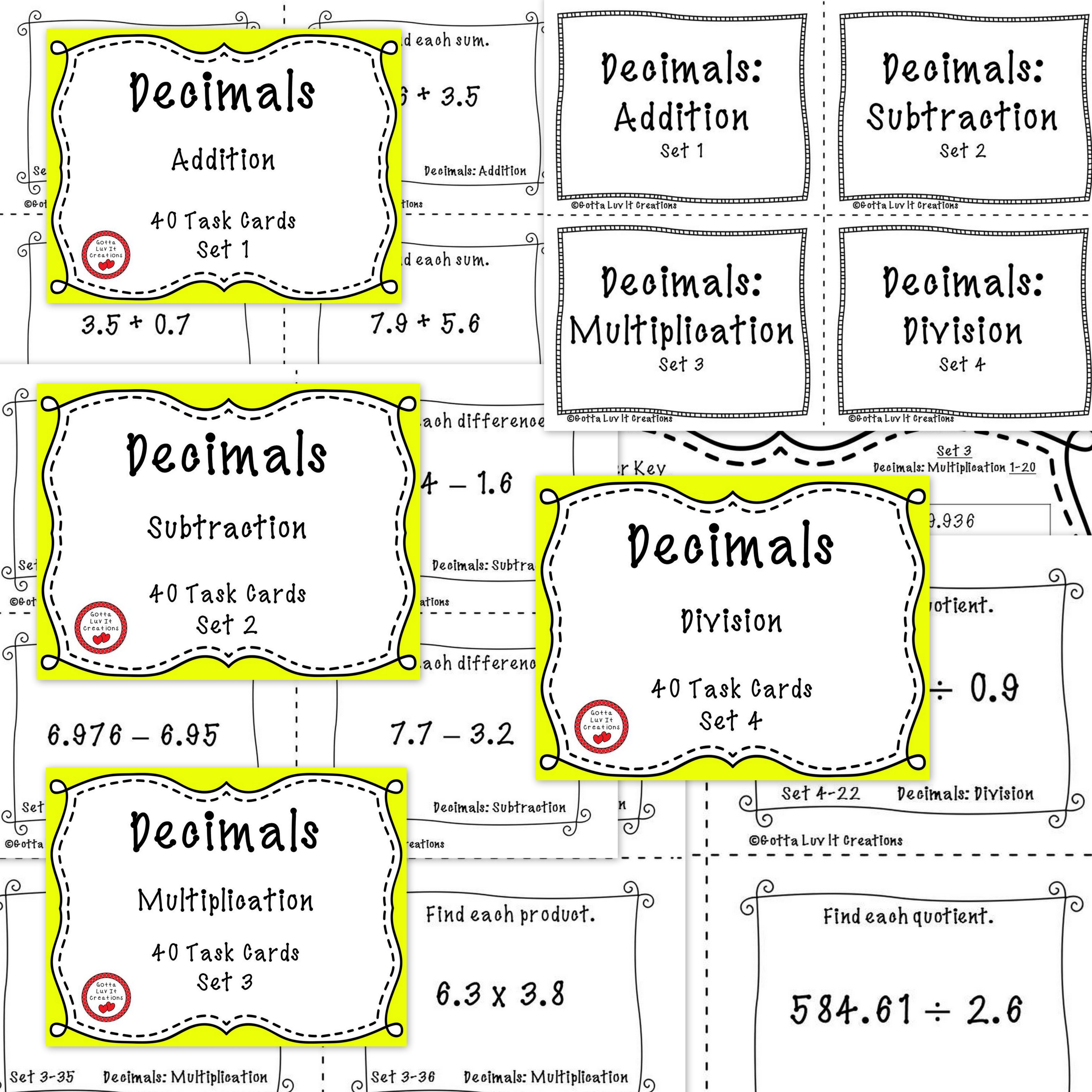 Free Download This Product Includes 160 Task Cards Covering Addition Subtraction Multiplication Division Of Decimals Task Cards Decimals Math Task Cards