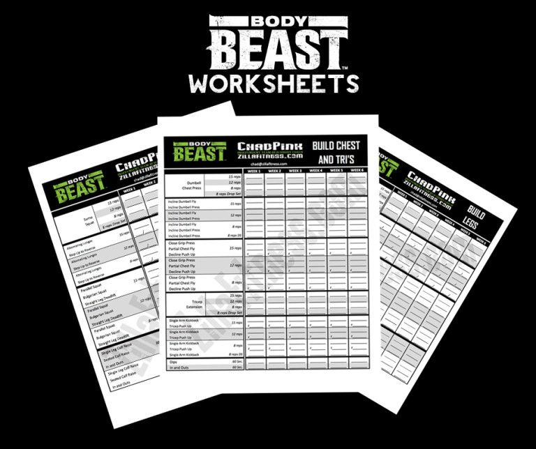 Body Beast Workout Sheets  New And Improved Body Beast Workout