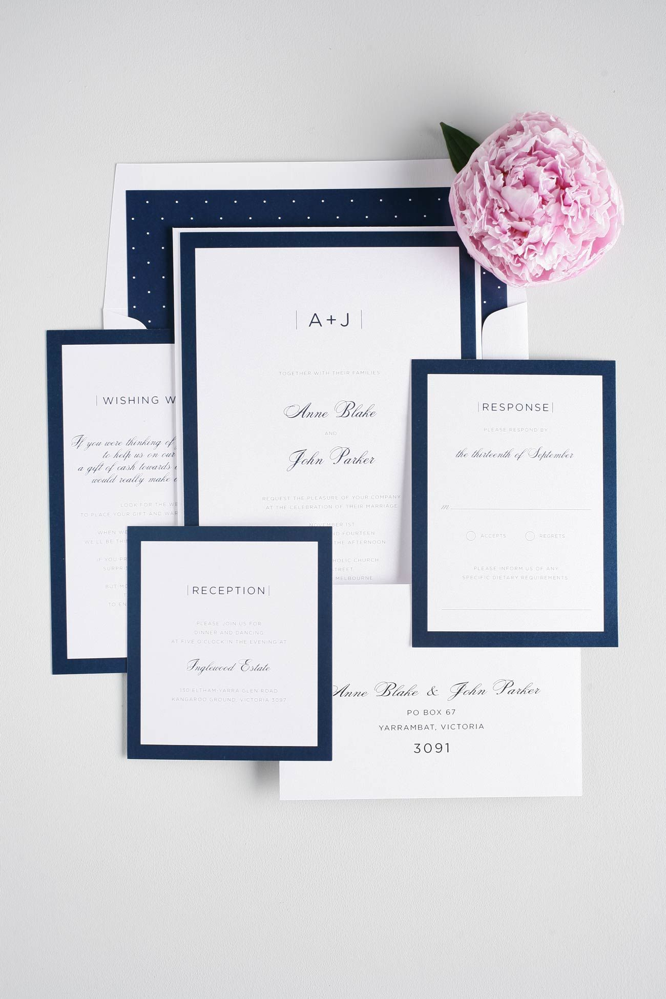 Modern navy blue wedding invitations Shine