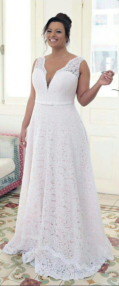 Flawless plus size A line lace wedding dress. Timeless, classy ...