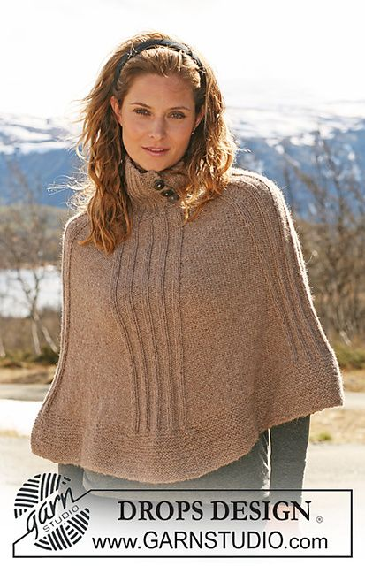 """Ravelry: 114-32 Knitted Poncho with rib in """"Classic Alpaca"""" pattern ..."""