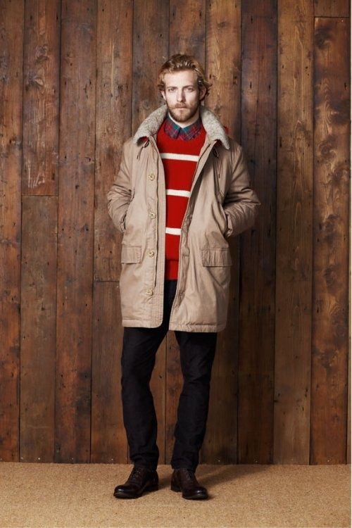Try pairing a nude parka with black chinos for your nine-to-five. Channel your inner Ryan Gosling and grab a pair of dark brown leather oxford shoes to class up your look. Shop this look for $344: http://lookastic.com/men/looks/long-sleeve-shirt-crew-neck-sweater-parka-chinos-oxford-shoes/7147 — Green and Red Plaid Long Sleeve Shirt — Red Horizontal Striped Crew-neck Sweater — Beige Parka — Black Chinos — Dark Brown Leather Oxford Shoes