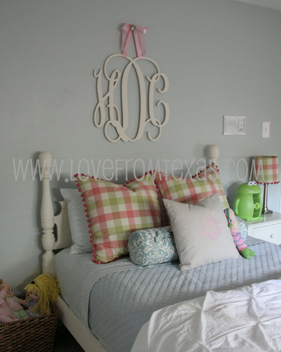"Wooden Monogram Wall Hanging painted 26"" wood monogram initials, wall decor, hanging wooden"