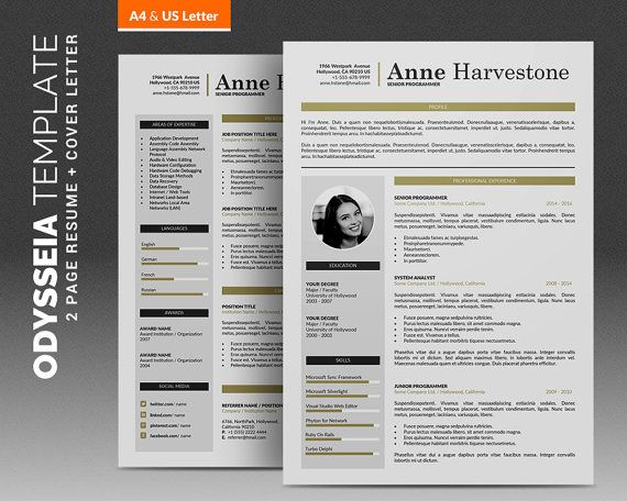 Creative CV Template \/ Resume Template Professional, 2 Pages - pages resume template