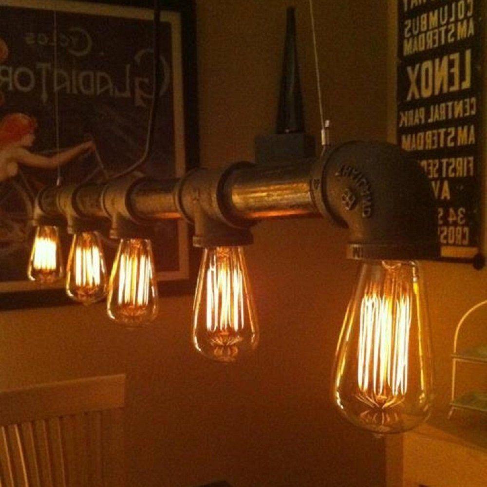 Vintage LED Hänge Lampe Küchen FILAMENT Rohr Design Gold Decken Leuchte DIMMER