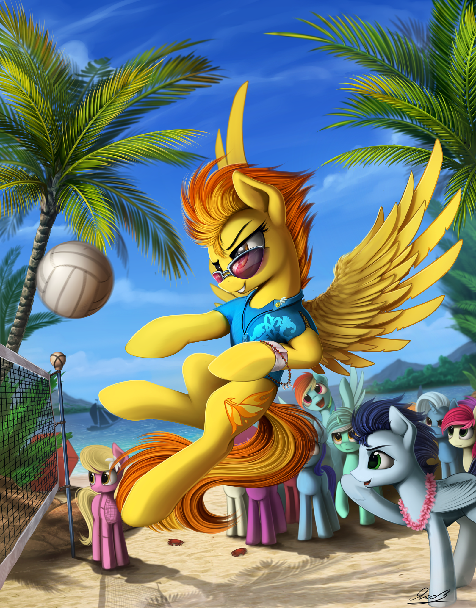 My Little Pony Wonderbolts SpitFire summertime volleyball by
