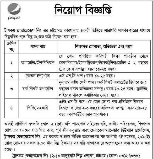 Transcom Beverages Ltd Job Circular Job Circular Pinterest - front desk job description