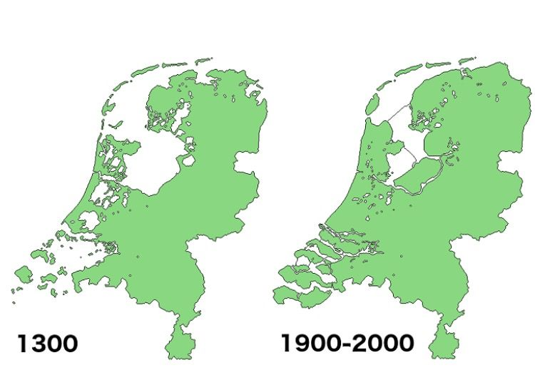 map of land reclamation in Netherlands 13002000 Dutch Gelderland