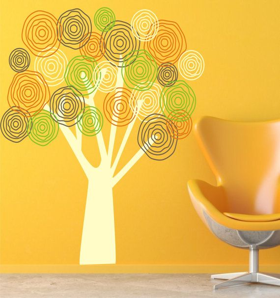 Large Funky Flower Tree Vinyl Decal - Personalized Childrens Decor ...