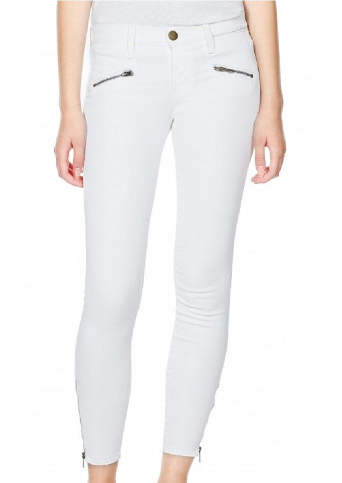 Current/Elliott The Boho Zip Stiletto 'Dirty White Coated' Jeans ...