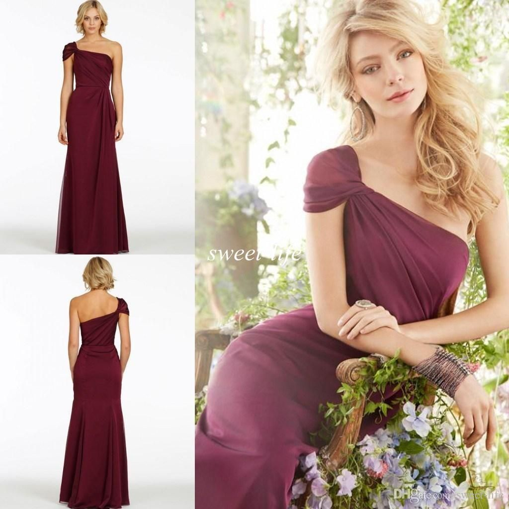 2015 Elegant Long Bridesmaid Dresses Wine Red e Shoulder