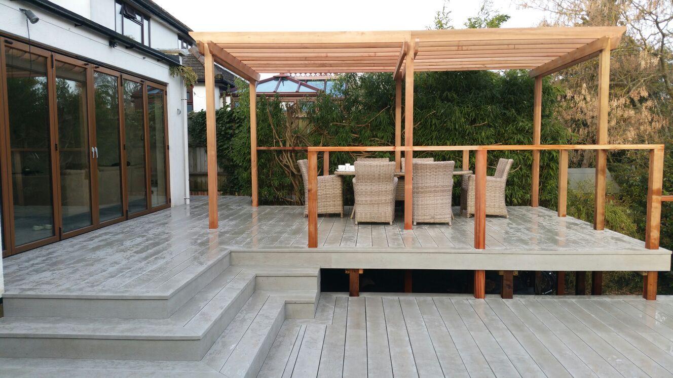 Barnet split level decking gallery: split level deck using millboard