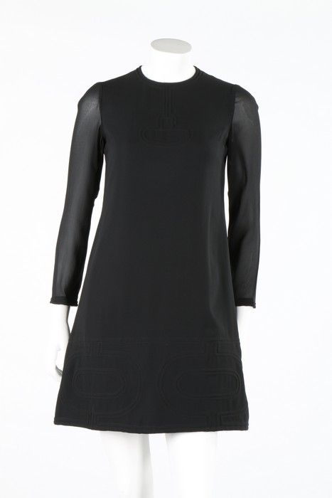 Pierre Cardin black silk crepe mini-dress, circa 1969