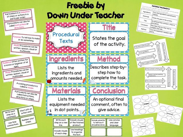 Procedural Texts Freebie By Down Under Teacher