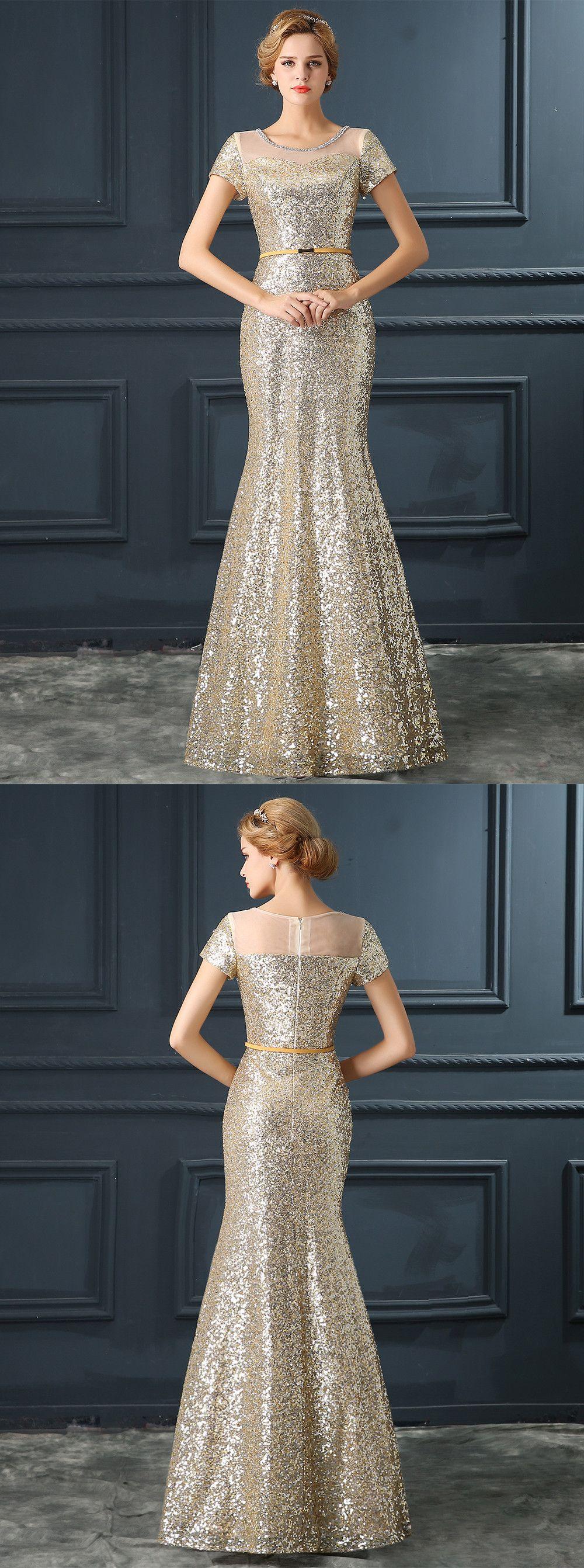 Stunning Jewel Short Sleeves Floor- Length Sequined Mermaid Prom ...