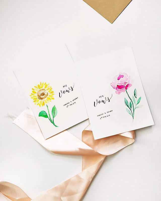 Sunflower Peony Vows Card Watercolor Flower Vows Book His Vows