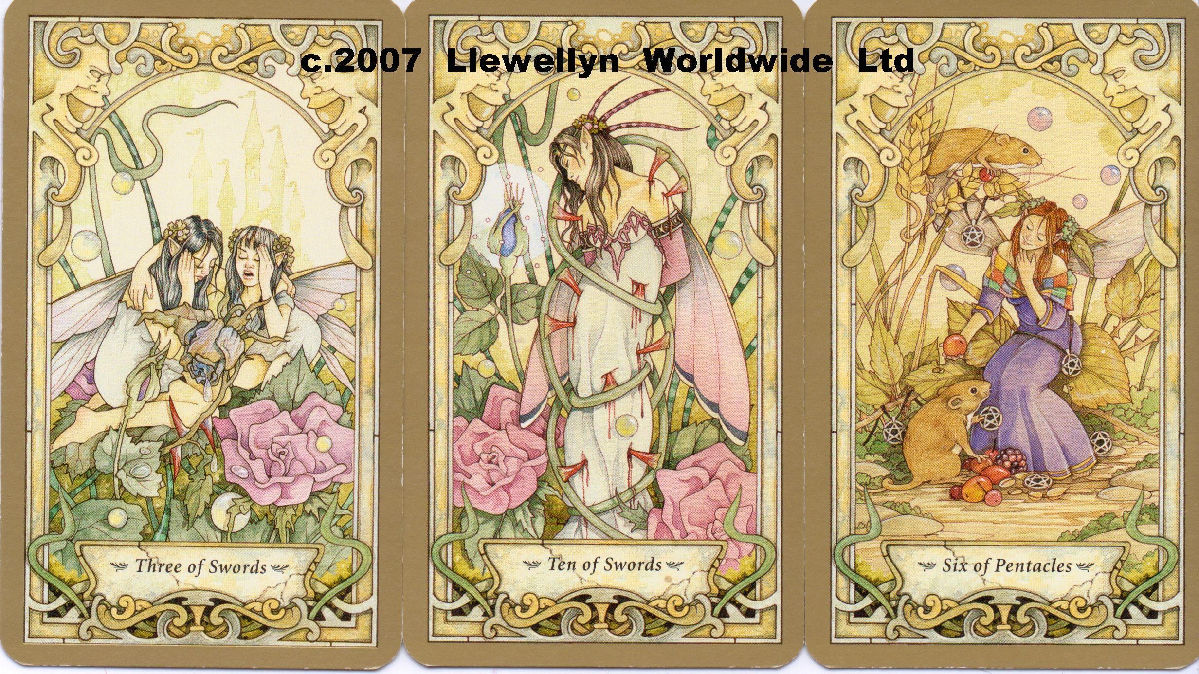 Mystic faerie tarot 3 of swords 10 of swords 6 of