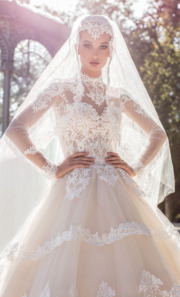 Victoria Soprano 2018 Wedding Dresses heavy embellishment high neck sweetheart neckline long sleeves princess wedding dress #wedding #weddingdress #weddinggown #bridedress