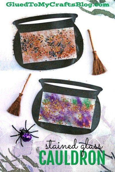Stained Glass Witch Cauldron - Kid Craft For Halloween
