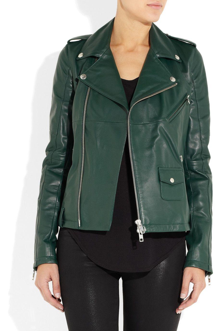 f40eaff476dab McQ Alexander McQueen | Deep Green Leather biker jacket | NET-A-PORTER.COM