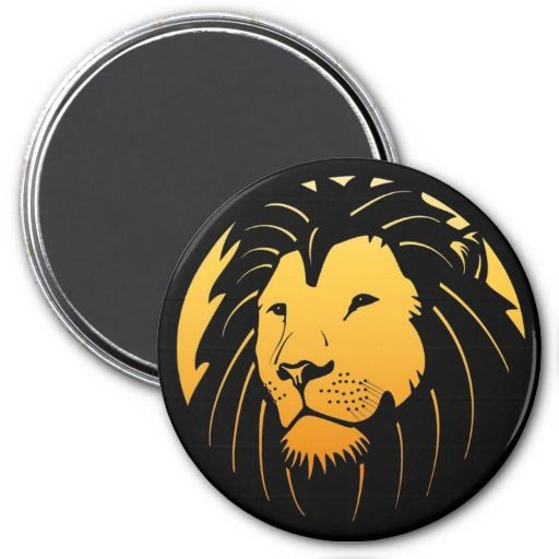 Het is het hoofd het logoontwerp van een zeer coo leeuw op een grote ronde koelkastmagneet!  Kijkt overal groot!  Greep van u vandaag.