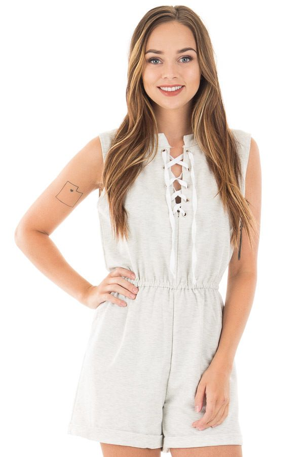 00e7c288964 Heather grey sleeveless casual romper with lace up front close jpg 600x900 Casual  romper