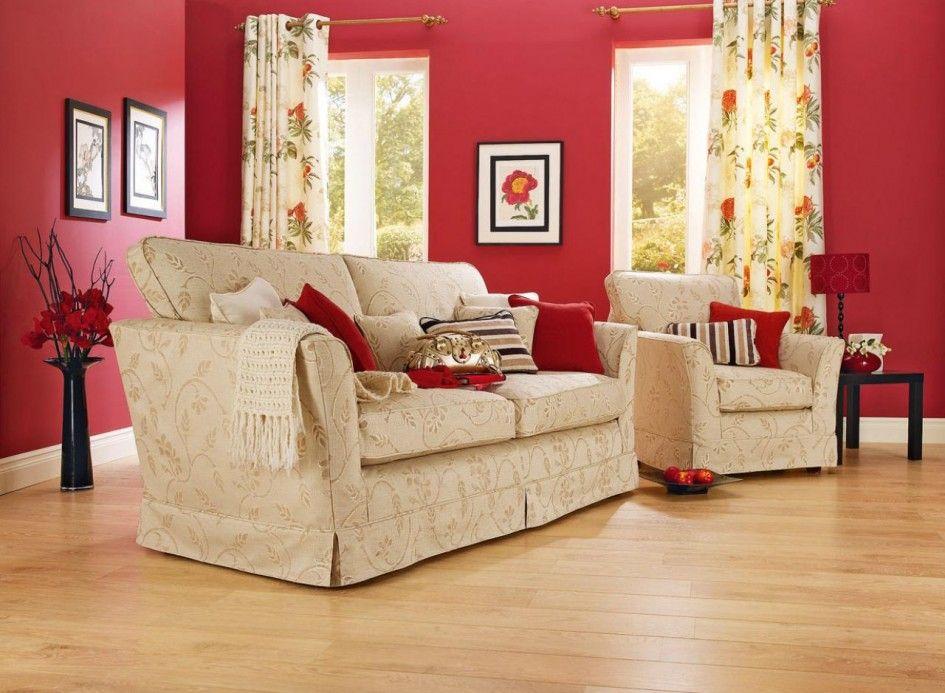Tips Trick Amazing Living Room Design Decorating Floral Fabric With Red Wall Color