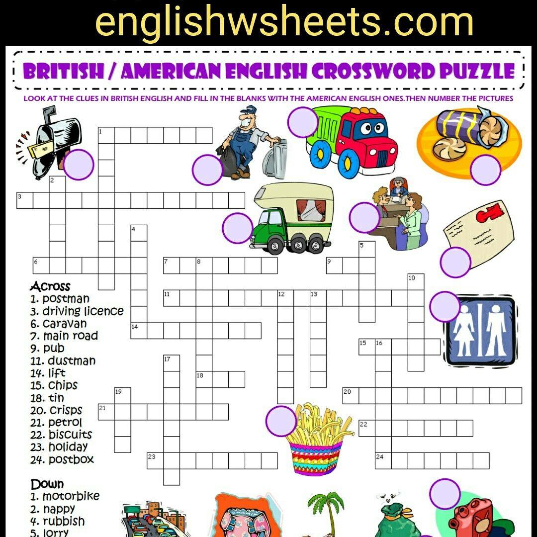 British / American English Esl Printable Crossword Puzzle ...
