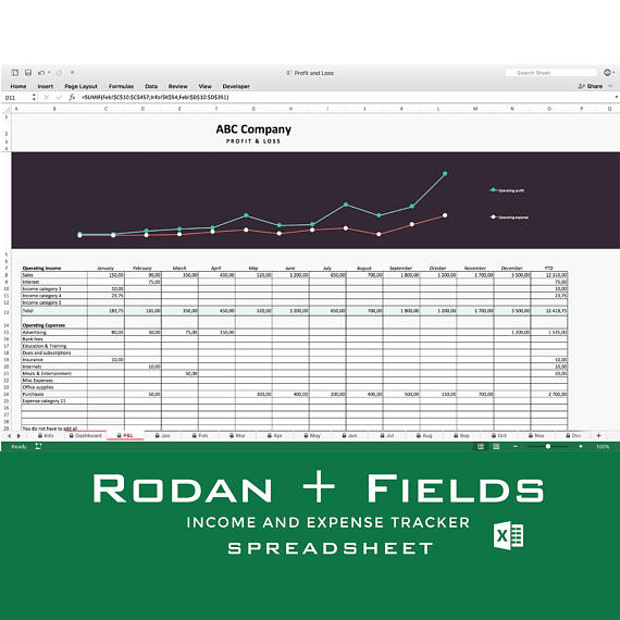 Rodan + Fields Income and expense tracker, Monthly Cash Flow
