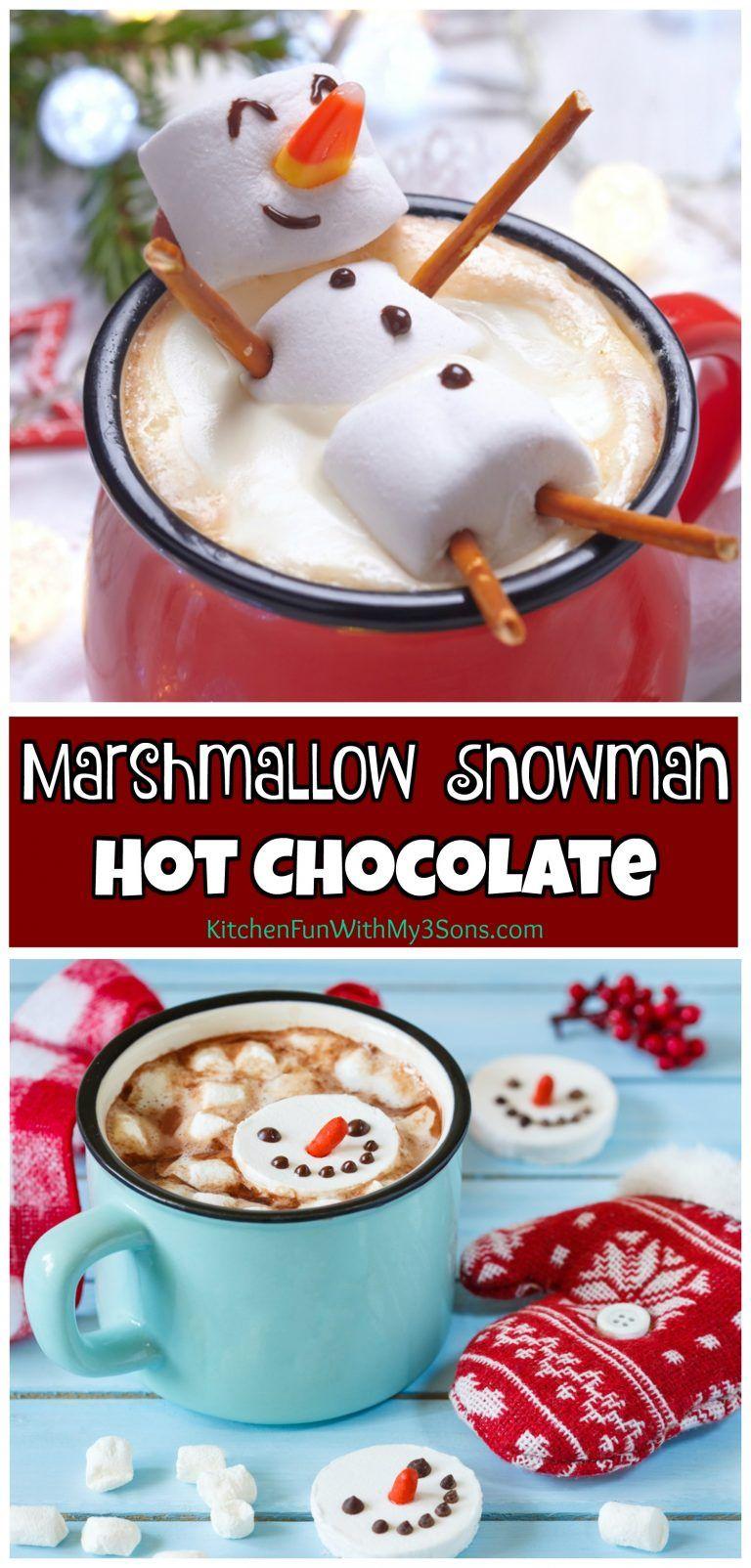 Marshmallow Snowman Hot Chocolate #hotchocolatebar