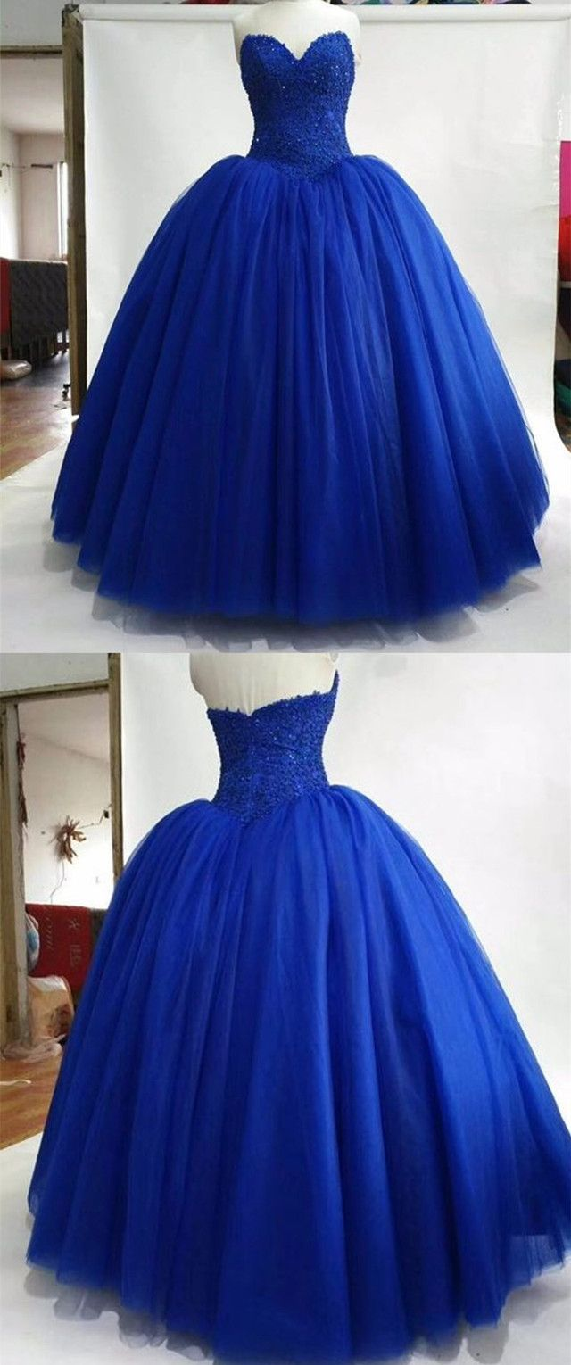 Strapless royal blue tulle ball gowns quinceanera dress lace