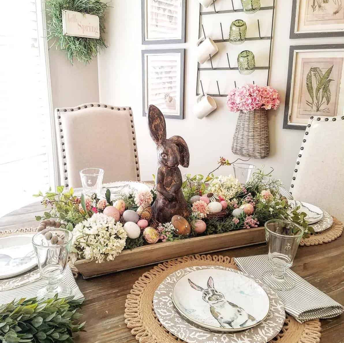 26 Beautiful Decorating Ideas To Celebrate Spring Using Dough Bowls Easter Bunny Centerpiece Easter Table Decorations Spring Easter Decor