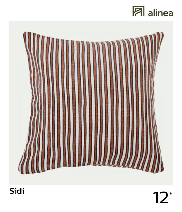 alinea #decoration sidi coussin en coton imprimé rouge et écru