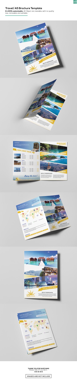 Free Travel A5 Brochure Template On Behance Flyer Design
